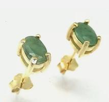 Valódi, természetes smaragd drágaköves  sterling ezüst füli 925, 14K aranyozva  - új