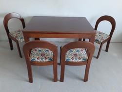 Mahagóni Art deco étkezőasztal 4 db székkel.