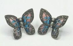 Pillangós  füli / sterling ezüst 925  kék- pink  új