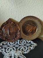 Balatonos fali tányérok kerámia és bronzított fém