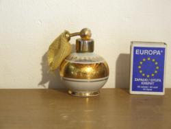 Régi aranyozott porcelán Bavaria parfümös üveg, parfüm tartó