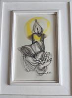 MACSKÁSSY IZOLDA: Gyertyafényben (selyemkép kerettel, 44x34 cm) kezek, könyv, olvasás gyertyalánggal
