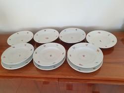 Régi KP Drasche porcelán virágos tányér 10 db