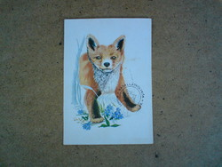 Régi képeslap - Vörös róka 1976 - Grafika : Zombori Éva