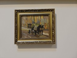 Béla Juszkó horse-drawn carriage 1931.Feb.9. Bp. Weekly action6