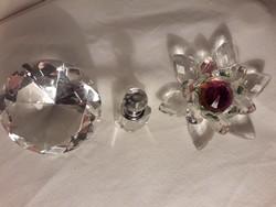 Üveg díszüvegek- tavirózsa és kis parfümös üveg