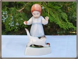 Zsolnay porcelán Sinkó, gyűjtői cicával játszó kislány figura