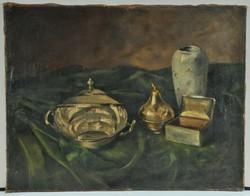 Ezüst tárgyakról csendélet, Ismeretlen festő