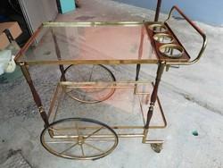 Olasz vintage üveglapos zsúrkocsi, bárasztal