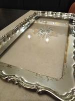Ezüstözött, üvegbetétes sárgaréz tálca, asztali kínáló