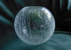 Vastag repesztett fátyol üveg elegáns gömb váza