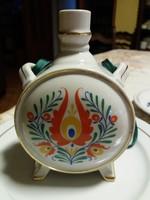 Drasche porcelán kulacs népművészeti dekorral