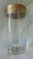 Antik, elegáns vastag üveg pohár pazar perem díszítéssel