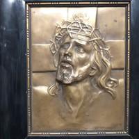 Antik Bronz Kézzel Domborított Jézus Kép.Jelzett.