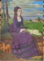 Lila ruhás nő! Festmény ! Szinyei Merse Pál híres festményének feldolgozása!Jó színekkel,