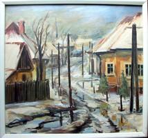 Horváth László - Farmosi utcarészlet 84 x 79 cm tempera, olaj, farost