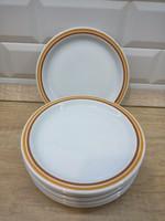 Alföldi porcelán sárga, barna csíkos kistányér, süteményes tányér