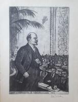 Ék Sándor: Lenin a Komintern III. kongresszusán, 1921 (rézkarc 40x28 cm, 1970)