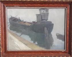 VÁRDEÁK FERENC: Hajó a kikötőben (olaj-vászon kerettel 38x31 cm) nagybányai művésztelep