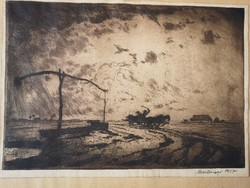 Meilinger Dezső: Alföld rézkarc 1927