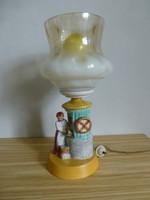 H. Rahmer Mária kerámia lámpa,kislány kerekes kúttal. Gyönyörű darab.