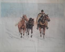 Benyovszky István: Vágta a hóban (59x48 cm, nyomat akvarellel kifestve) csikós, lovas, ló, betyár
