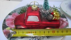 Üveg karácsonyfadísz - karácsonyi furgon