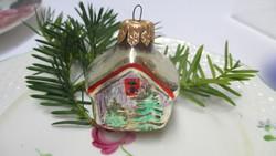 Üveg karácsonyfadísz - házikó