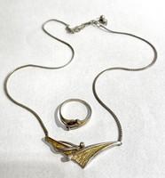 Csinos, egyedi ezüst ékszerszett- gyűrű és nyaklánc