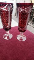 Eskűvöi Koccintásra Régi Rubinpácolt Két Darab Kristály Pezsgős Pohár Vékony Csiszolt Üveg Ritkaság