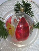 Régi karácsonyfadisz, ablakos gömb-sérült