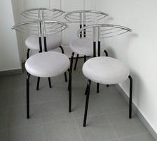 Étkező szék, 4 db modern design, krómozott fémvázas, szürke huzattal + ajándék terítő