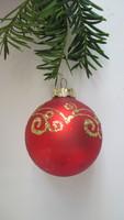 Üveg karácsonyfadísz - piros gömb arany diszitéssel