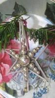 Régi üveg karácsonyfadísz -Gablonz csillag, nagy