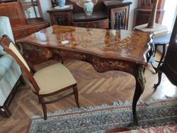 Intarziás fényezett XIV .Lajos stílusú íróasztal + szék