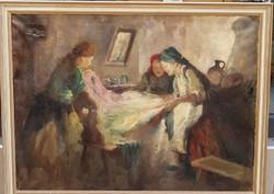 Ism. festő: Hímző asszonyok