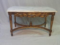 Aranyozott,márványlapos barokk asztal