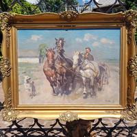 János Viski: triple tooth with kvass. Oil on canvas 60,5x80cm, painting, elite blondel, landscape