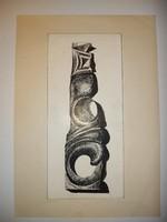 Vogl Ferenc tusrajz, a hordozó mérete, melyre ráragasztotta a mester, A4-esnél kisebb, kb.20x30 cm