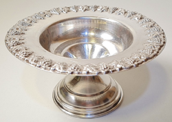 Judaica, hazorfim antique 925 silver kiddush cup holder / serving