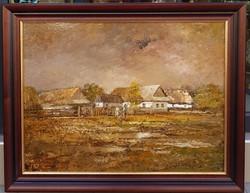 Szanthoffer Imre ( 1930-2007) : Falurészlet, 60x80 cm., 89eft.