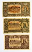 1000 korona+500 korona+100 korona 1923.Magyar Pénzjegynyomda Rt.