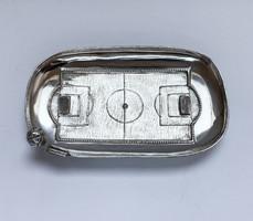 Különleges, labdarúgópálya forma ezüst tálka!