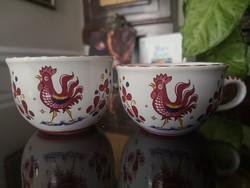 Deruta, olasz kézzel festett kerámia tál, bögre, vörös kakasos, rosso gallo majolika, fajansz