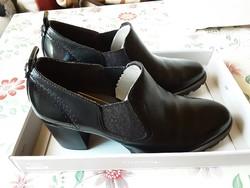Fekete-ezüst Tamaris bőrcipő 39