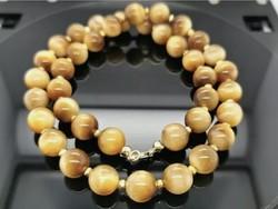375, Csodás Golden Eye- tigrisszem drágaköves nyakék ,  375/ 9K arany zárral  új
