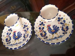 Deruta, olasz kézzel festett kerámia lágytojás tartó, kék kakasos majolika
