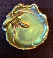 Zsolnay eozin rákos tál , közepes  méretű , eredeti dobozban