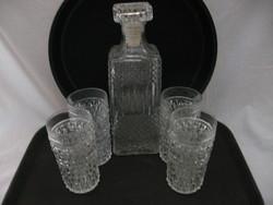 Whisky italos kínáló üveg 4 gyémántmintás pohárral