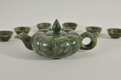 Antik kínai nefrit tök stílusú teáskanna és csészék